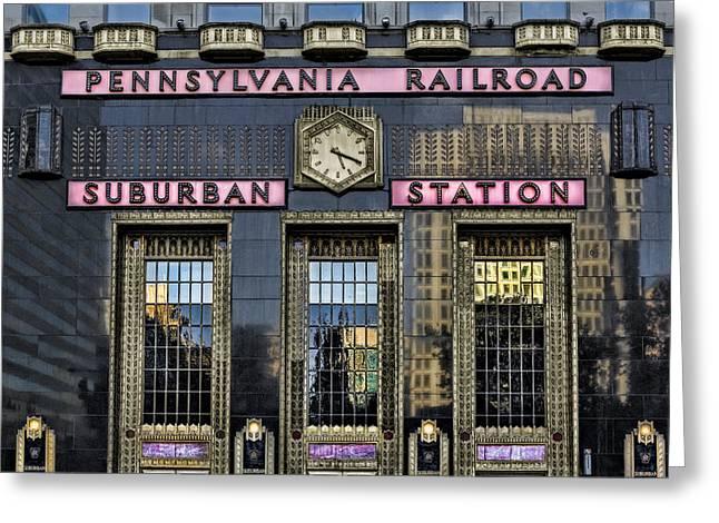 Penn Center Greeting Cards - Pennsylvania Railroad Suburban Station Greeting Card by Susan Candelario