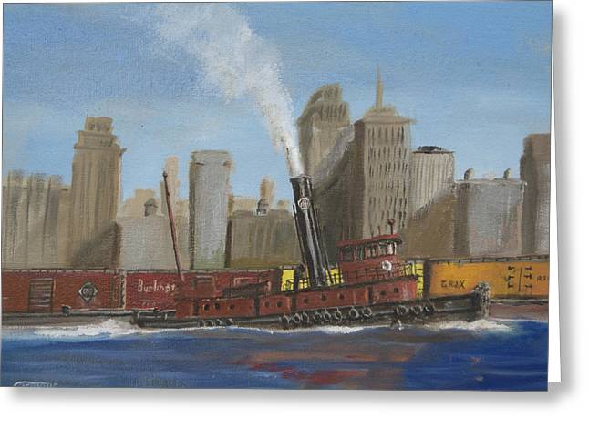 Gotham City Paintings Greeting Cards - Pennsylvania Railroad Tug Greeting Card by Christopher Jenkins