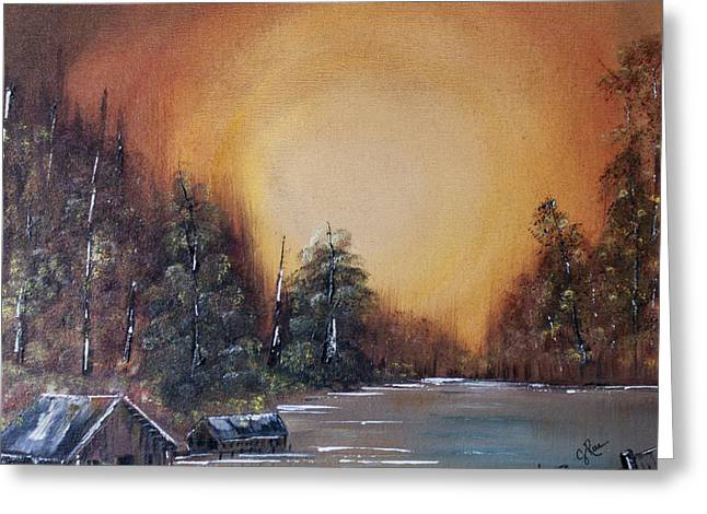 Bob Ross Paintings Greeting Cards - Pennsylvania Shenango Dawn in Oil Greeting Card by Janice Rae Pariza
