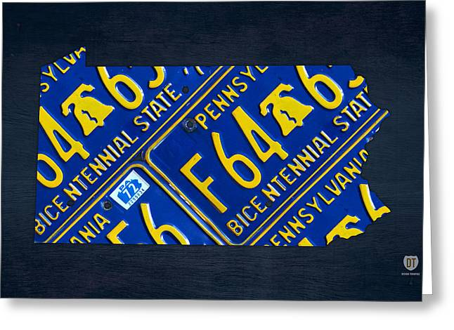 Pennsylvania Mixed Media Greeting Cards - Pennsylvania State License Plate Map Greeting Card by Design Turnpike