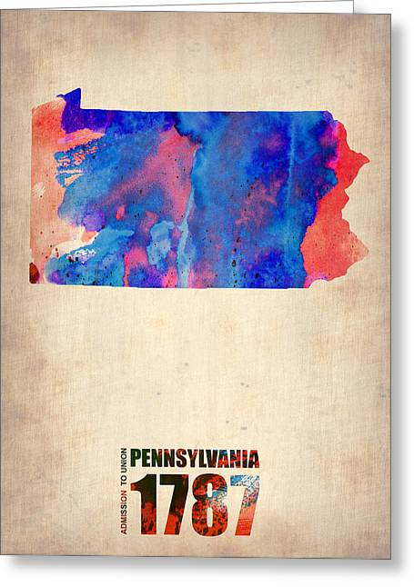 World Maps Mixed Media Greeting Cards - Pennsylvania Watercolor Map Greeting Card by Naxart Studio