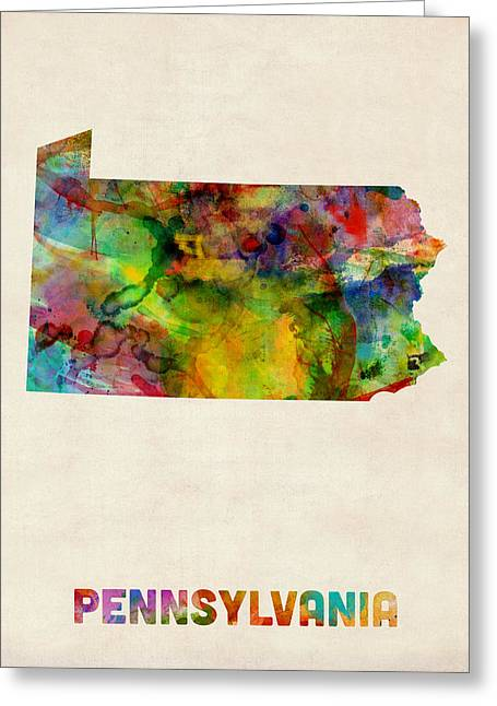 Cartography Digital Greeting Cards - Pennsylvania Watercolor Map Greeting Card by Michael Tompsett