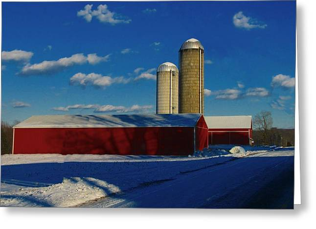 Snowy Roads Photographs Greeting Cards - Pennsylvania Winter Red Barn  Greeting Card by David Dehner