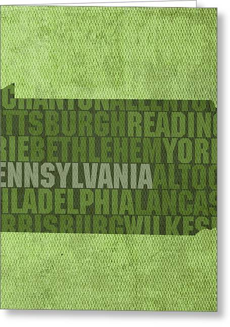 Pennsylvania Mixed Media Greeting Cards - Pennsylvania Word Art State Map on Canvas Greeting Card by Design Turnpike
