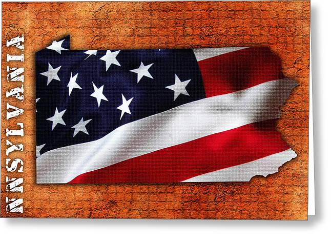 Pennsylvannia American Flag State Map Greeting Card by Marvin Blaine