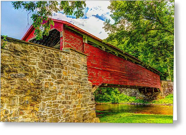 Pennsylvannia Covered Bridge Greeting Card by Tom Heywood