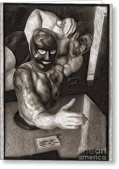 Gregory Dyer Greeting Cards - Penny Arcade Arm Wrestler Greeting Card by Gregory Dyer