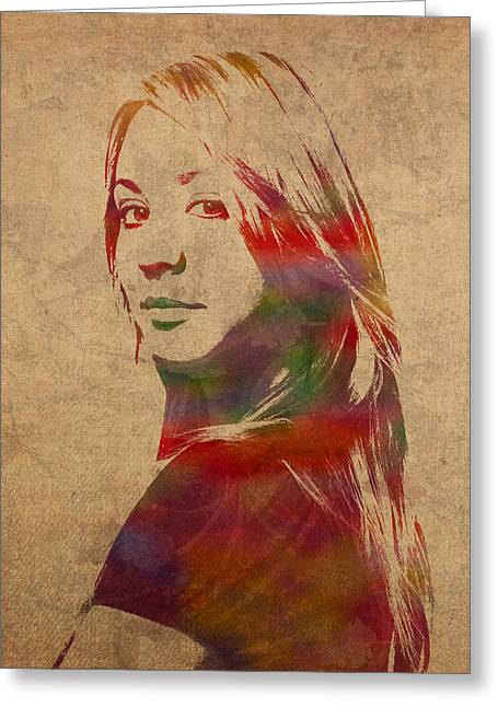 Penny Greeting Cards - Penny Big Bang Theory Kaley Cuoco Watercolor Portrait on Worn Distressed Canvas Greeting Card by Design Turnpike