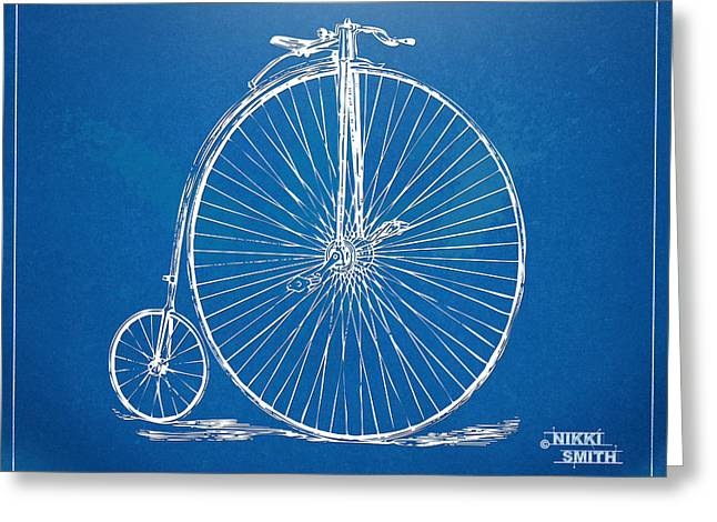 Spokes Greeting Cards - Penny-Farthing 1867 High Wheeler Bicycle Blueprint Greeting Card by Nikki Marie Smith