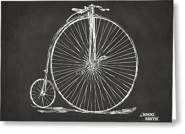 Spokes Greeting Cards - Penny-farthing 1867 High Wheeler Bicycle Patent - Gray Greeting Card by Nikki Marie Smith