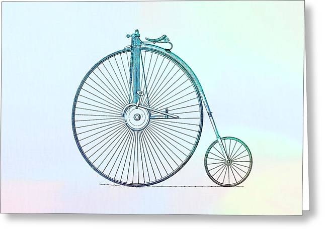 Vintage Bicycle Mixed Media Greeting Cards - Penny-farthing Bicycle Color Greeting Card by Dan Sproul