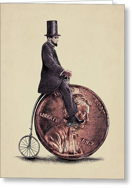 America Drawings Greeting Cards - Penny Farthing Greeting Card by Eric Fan