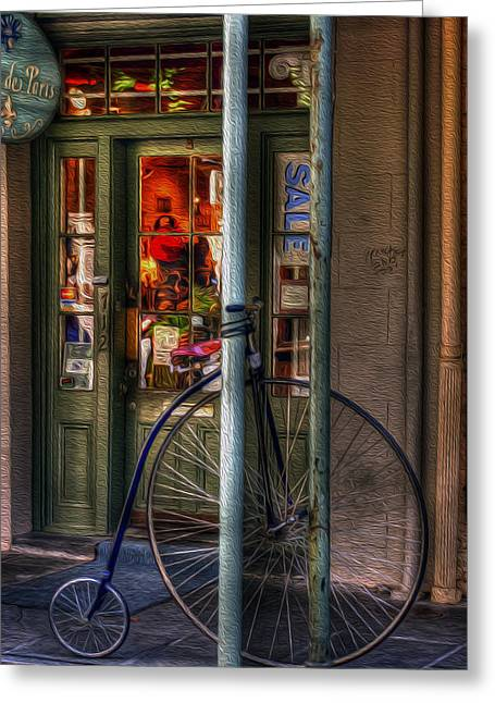 Store Fronts Greeting Cards - Penny Farthing Greeting Card by Greg and Chrystal Mimbs