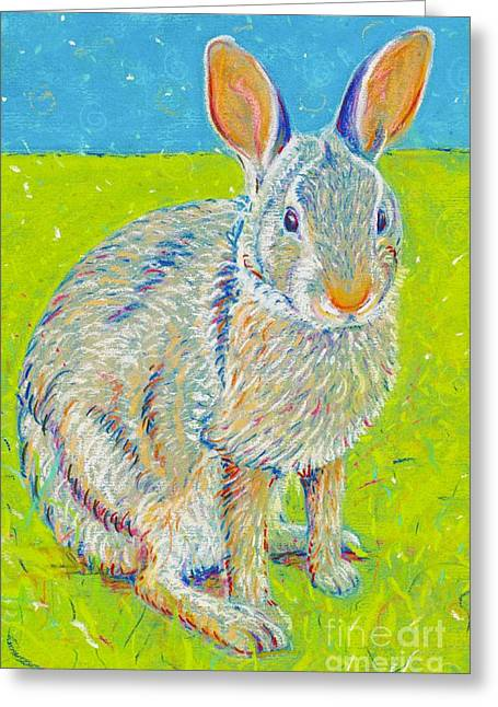 Rabbit Pastels Greeting Cards - Penny the Rabbit at Snickerhaus Garden Greeting Card by Christine Belt