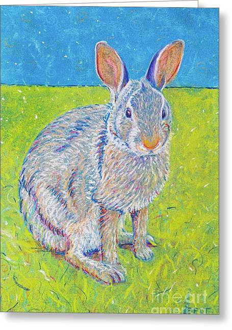 Rabbit Pastels Greeting Cards - Penny the Rabbit at Snickerhaus Garden II Greeting Card by Christine Belt