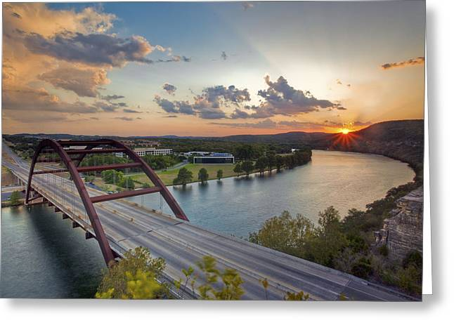 Austin 360 Greeting Cards - Pennybacker Bridge at Sunset Greeting Card by Rob Greebon