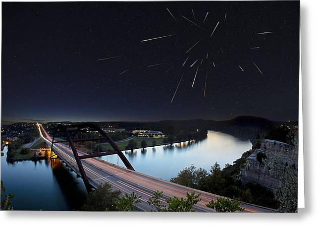 Austin 360 Greeting Cards - Pennybacker Bridge Austin Texas - Night of the Meteors Greeting Card by Rob Greebon