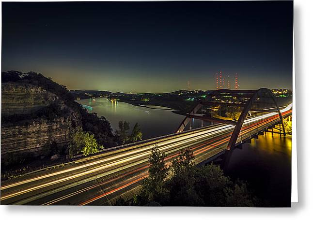 Austin Landmarks Greeting Cards - Pennybacker Bridge Greeting Card by David Morefield