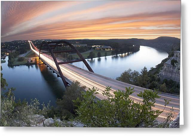 360 Bridge Greeting Cards - Pennybacker Bridge Sunset near Austin Texas Greeting Card by Rob Greebon