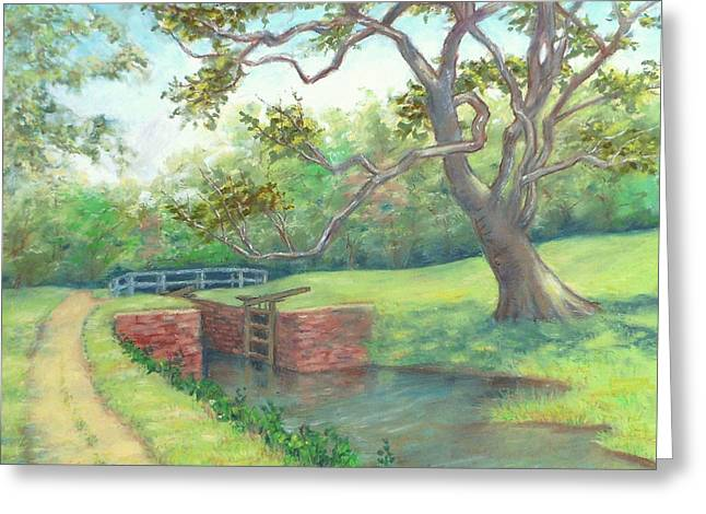 National Pastels Greeting Cards - Pennyfield Lock and Towpath C and O Canal MD Greeting Card by Nancy Heindl