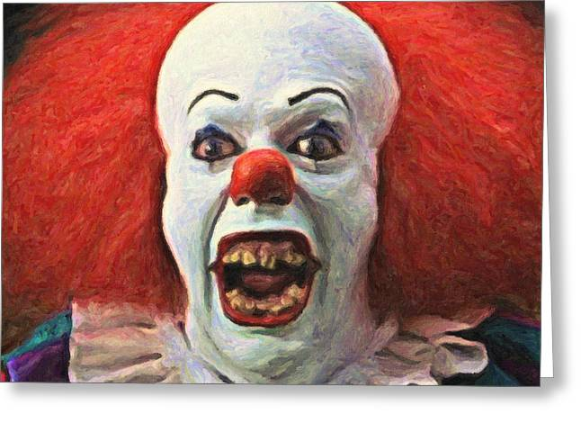 Scary Clown Greeting Cards - Pennywise the Clown Greeting Card by Taylan Soyturk