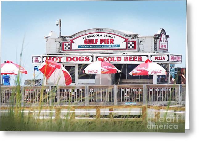 Florida Panhandle Digital Art Greeting Cards - Pensacola Beach Gulf Pier Greeting Card by Patricia L Davidson