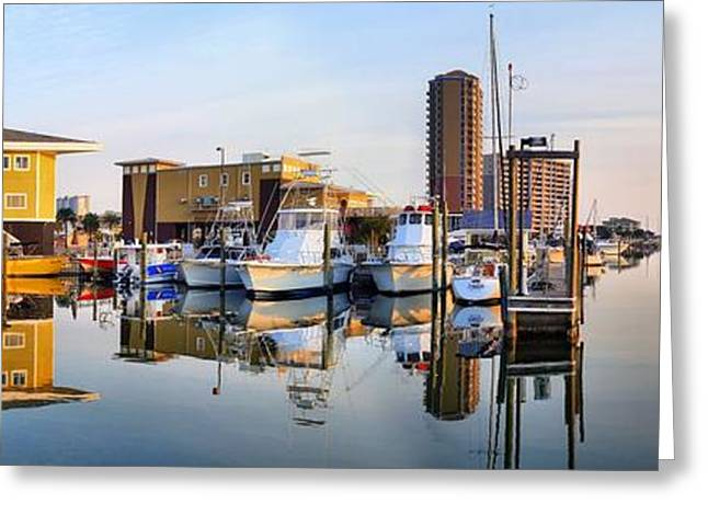 Yellow Sailboats Greeting Cards - Pensacola Beach Harbor Panoramic Greeting Card by JC Findley