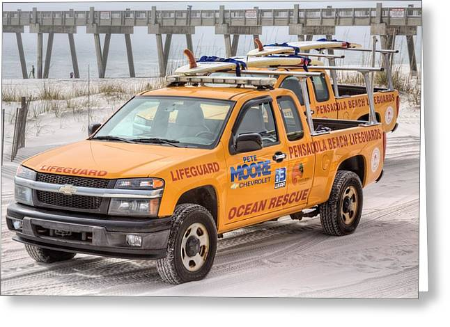 Florida Panhandle Greeting Cards - Pensacola Beach Lifeguards Greeting Card by JC Findley