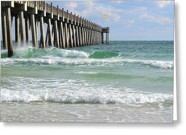 Pensacola Fishing Pier Greeting Cards - Pensacola Beach Pier Greeting Card by Shirlee Mikel Vos