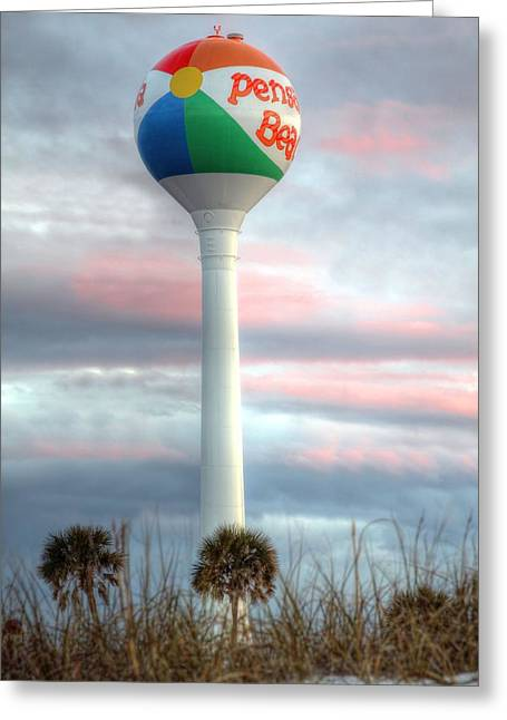 Florida Panhandle Greeting Cards - Pensacola Beach Water Tower Greeting Card by JC Findley