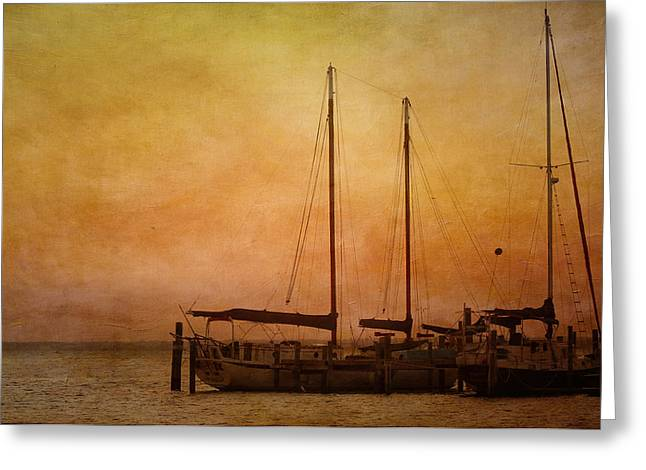 Marina Night Greeting Cards - Pensacola Harbor Greeting Card by Kim Hojnacki