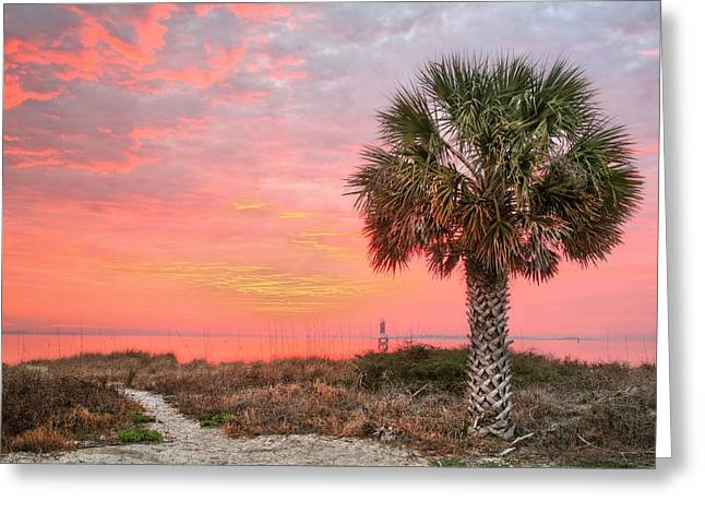 Florida Panhandle Greeting Cards - Pensacola Pink Greeting Card by JC Findley
