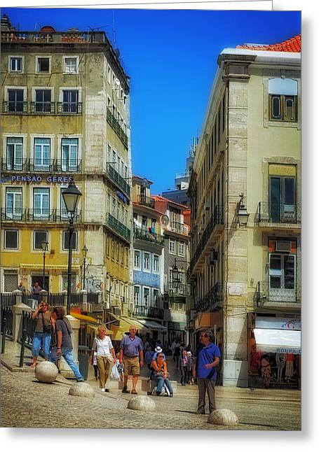 Red Tile Roof Greeting Cards - Pensao Geres - Lisbon 2 Greeting Card by Mary Machare