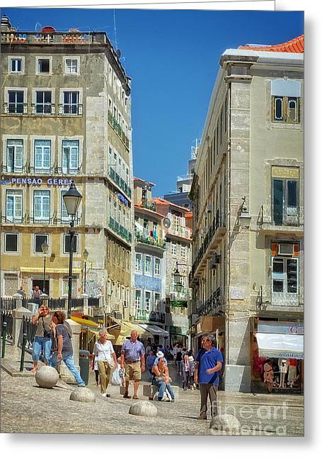 Red Tile Roof Greeting Cards - Pensao Geres - Lisbon Greeting Card by Mary Machare