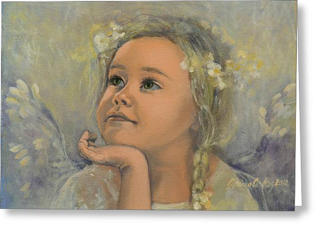 Angel Art Greeting Cards - Pensive - Angel 22 Greeting Card by Dorina  Costras