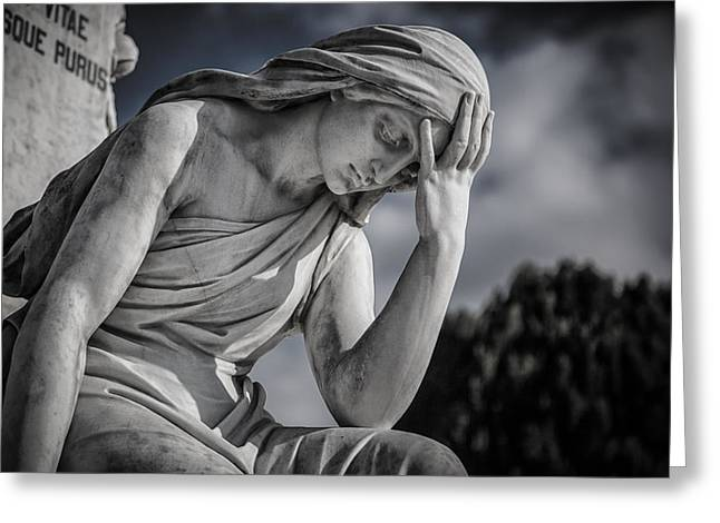 Spirituality Photographs Greeting Cards - Pensive Angel at Heredia Cemetery Greeting Card by Andres Leon