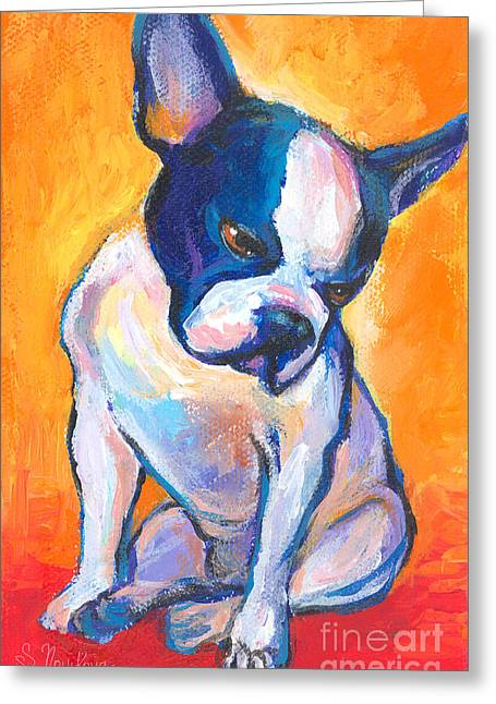 Custom Portraits Greeting Cards - Pensive Boston Terrier Dog  Greeting Card by Svetlana Novikova