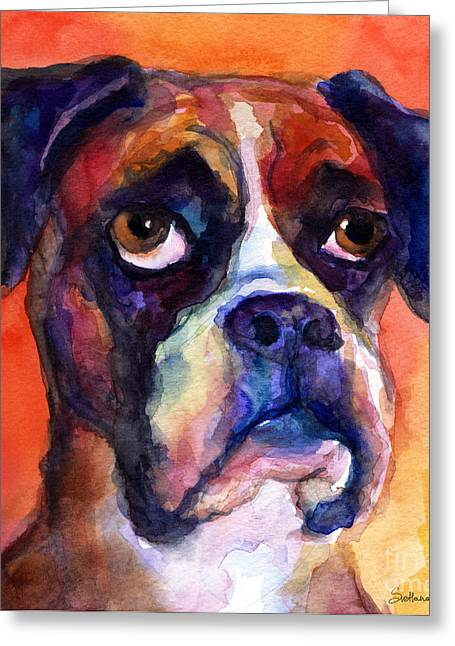 Custom Portrait Greeting Cards - pensive Boxer Dog pop art painting Greeting Card by Svetlana Novikova