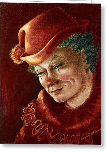 Pensive Pastels Greeting Cards - Pensive Clown Greeting Card by Ethel Quelland