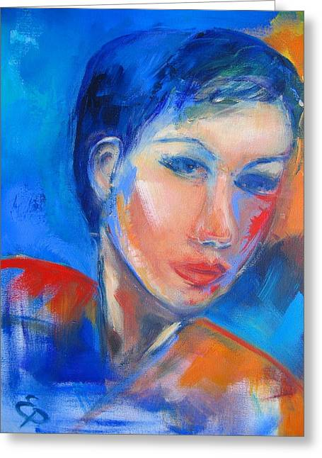 Blue Face Greeting Cards - Pensive Greeting Card by Elise Palmigiani