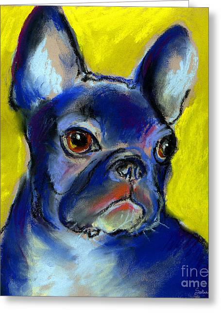 Whimsical Dog Art Greeting Cards - Pensive French Bulldog portrait Greeting Card by Svetlana Novikova