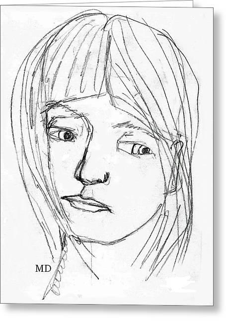 Pensive Drawings Greeting Cards - Pensive Girl Greeting Card by Michael Dohnalek