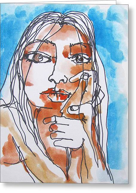 Daydream Drawings Greeting Cards - Pensive Greeting Card by James Huntley