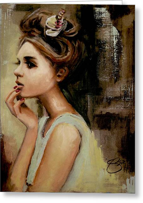 Updo Greeting Cards - Pensive Greeting Card by Jenny Berry