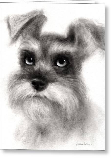 Pensive Schnauzer Dog Painting Greeting Card by Svetlana Novikova