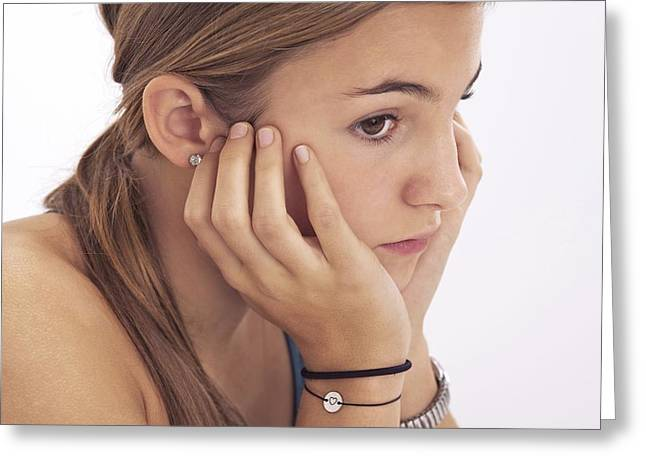 Body Language Greeting Cards - Pensive teenage girl Greeting Card by Science Photo Library