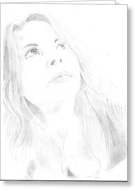 Pensive Drawings Greeting Cards - Pensive woman. Greeting Card by Blanka Kucejova