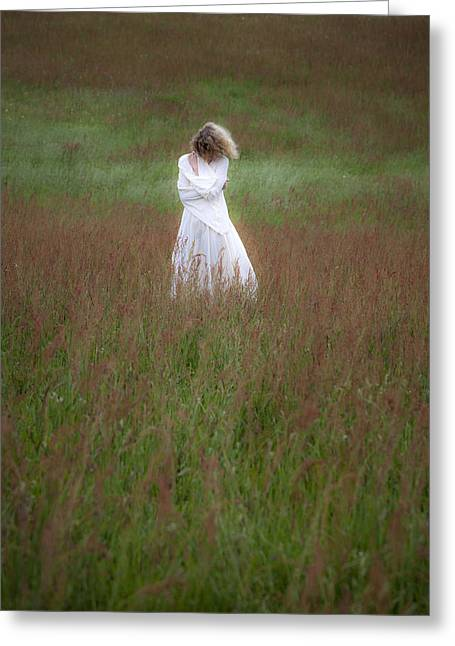 Lonelyness Greeting Cards - Pensive Woman Greeting Card by Maria Heyens