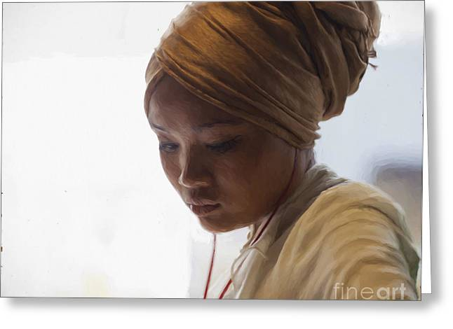 Pensive Young Woman In Turban Greeting Card by Avalon Fine Art Photography