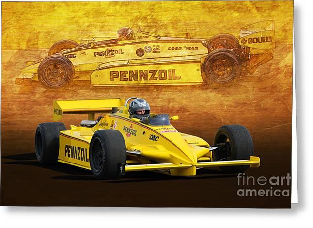 Indycar Greeting Cards - Penske C10 Indycar Greeting Card by Stuart Row